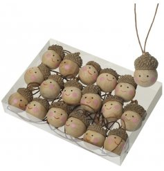 A set of 18 mini acorn head decorations. A charming child friendly decoration for your Christmas tree!