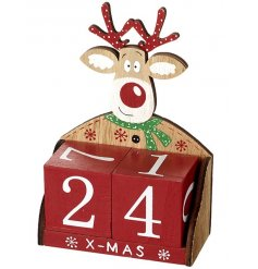 A colourful red and green reindeer countdown calendar.