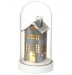 Add a beautiful festive glow to the home this season with this stylish grey house set within a glass dome.
