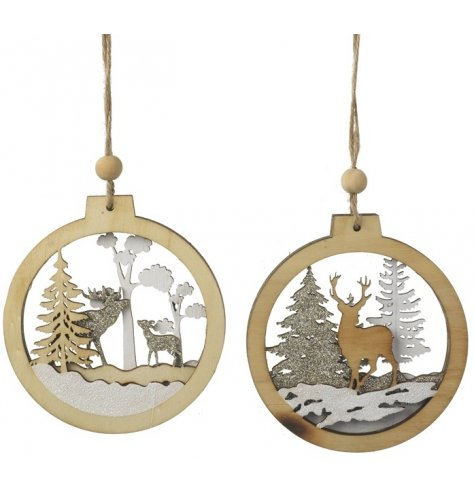 Assorted wooden baubles featuring a layered woodland scene with gold glitter reindeer and trees.