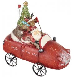Jingle all the way with this vintage inspired Christmas car ornament with Santa and Rudolf on a festive ride