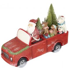 A vintage inspired happy holiday truck with Santa and friends. A charming decoration to be treasured and enjoyed!