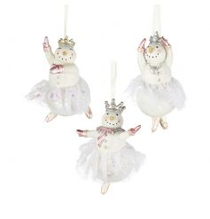 These 3 hanging Ballerina snowmen will add a fun elegant touch to your christmas tree this year.