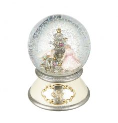 An utterly enchanting pink and cream nutcracker snow globe. A magical decoration this Christmas.