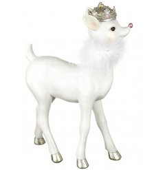 An enchanting fawn decoration with a faux fur collar and a gold crown.