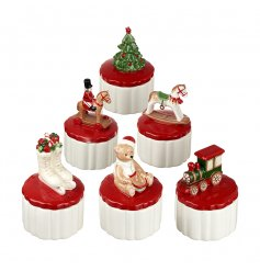 An assortment of 6 Christmas Themed Trinket Boxes