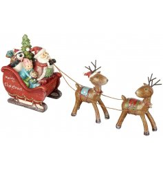 A vintage inspired Christmas ornament with Santa and friends riding a sleigh. A wonderful ornament to be enjoyed.