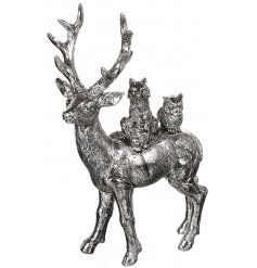 Silver painted woodland Stag complete with his little woodland friends