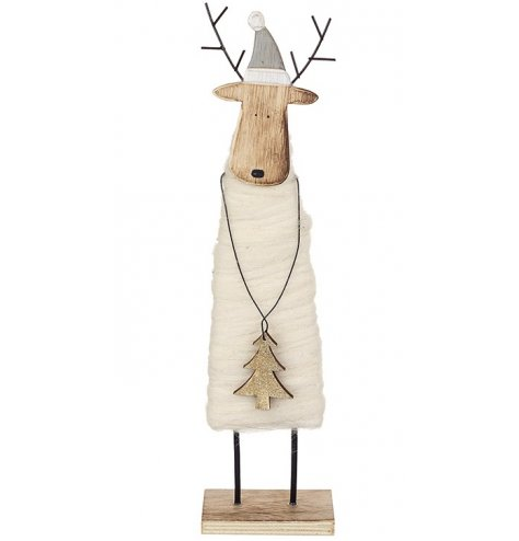 An adorable wooden reindeer decoration with a wrapped wool body, metal antlers and painted hat.