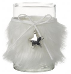 A Glass Candle Or Tea Light Holder With Fluffy White Sleeve And Silver Star Charm