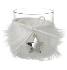 Fluffy White Tealight Holder With Silver Star Charm