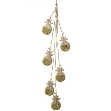 Hanging Garland Glitter Gold Pineapple