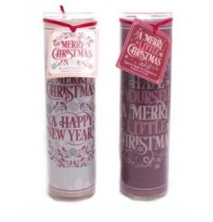 An assortment of 2 Tall Merry Christmas & Happy New Year Tube Candle