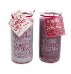 An assortment of 2 Merry Christmas & Happy New Year Tube Candle