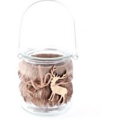 A glass tealight lantern with faux fur decoration