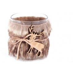 Glass tealight holder decorated with brown faux fur