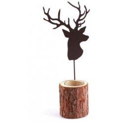 A bark tealight holder with black deer