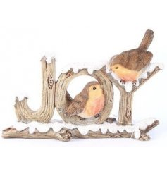 A festive woodgrain look JOY decoration with two little robins perched on the snowy letters.