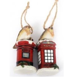 An assortment of 2 Robin On A Post/Phone Box Hanging Decoration