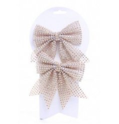 These beautiful and traditional themed golden bows, perfect for decorating your christmas tree
