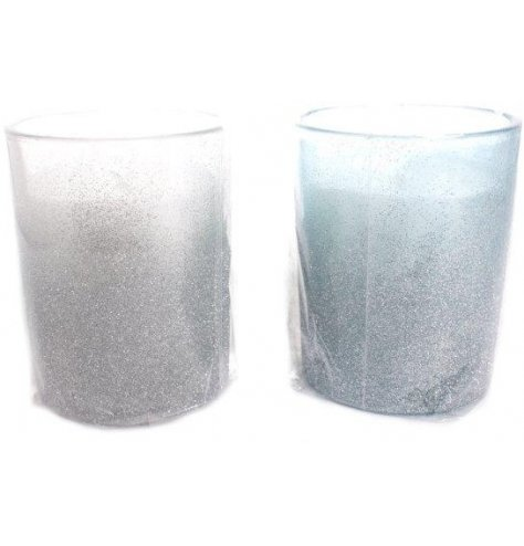 Silver glitter ombre candles in white and ice blue colours.