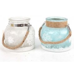 A beautiful assortment of winter ice inspired candle lanterns