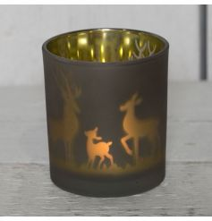 This stylishly small candle holder will bring a frosted warm glow to any space.