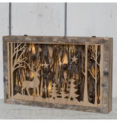 A beautiful wooden woodland scene complete with real twigs and pinecones and finished with a perfect glow from LED light