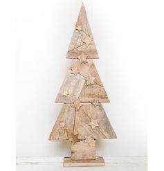 This quirky free standing wooden christmas tree will stand tall in any space