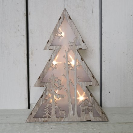Wooden Christmas Tree Led Light 34508 Christmas Display And
