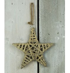 A rustic simplistic handing willow star decoration