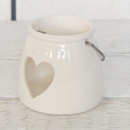White  Heart T-light Holder