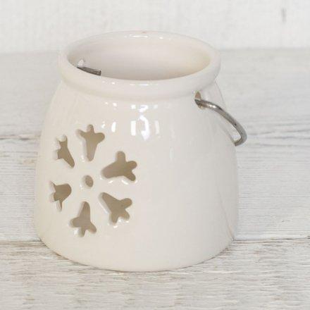 White Snowflake T-Light Holder 8.7cm