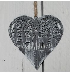vintage styled hanging metal heart, complete with a rustic worn down front