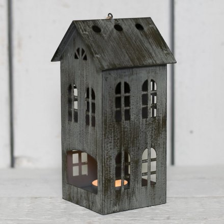 Charcoal Grey Distressed House T Light Holder Med