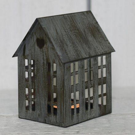 Charcoal Grey Metal House T Light Holder Sml