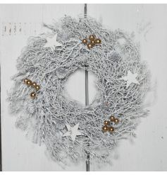 Give off that frosty feeling with this stylishly different twig wreath, coated in a white paint and set with simple gold