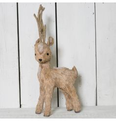Natural Reindeer with Faux Fur - Large   Built up of mostly twine and natural grass, this Deer will stand proudly
