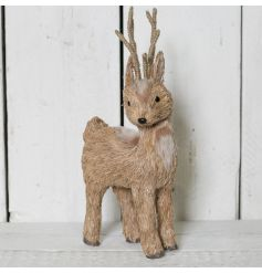 Built up of mostly twine and natural grass, this Deer will stand proudly in any room
