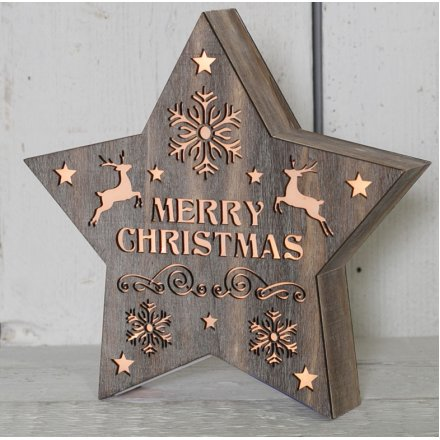 Wooden Led Light Up Star 24cm 34546 Christmas Display And