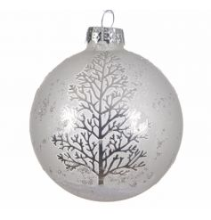 A beautiful set of white glass baubles with a patterned silver tree to add compliments