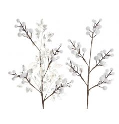Beautiful and delicate looking twig branches set with snowballs on the ends and entwined with silver leaves and crystal
