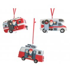 An assortment of 3 hanging decorations featuring santa in a campervan