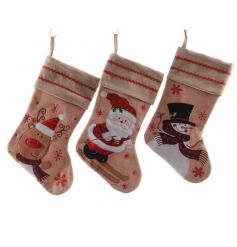 3 sweetly assorted fabric christmas stockings