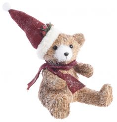 Made from genuine dried grass and hessian for the hat and scarf, this sweet sitting bear will add a cozy touch to your h