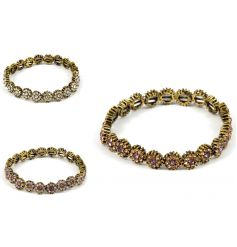 An assortment of 3 daisy design bracelets. A chic gift item and fashion accessory.