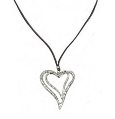 A pretty double silver heart necklace with grey cord.