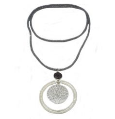 A large silver tree of life charm with a beaded necklace.
