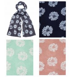 An assortment of 3 scarves in popular colours. Each has a pretty daisy design.