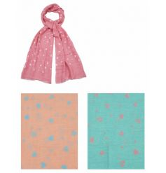 A mix of 3 pastel coloured scarves with pretty heart patterns. A great seasonal fashion accessory.